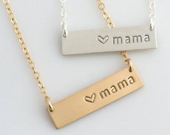 Mothers Day Jewelry From Daughter/Husband/Mama Bar Necklace /Personalized Bar Necklace / Mothers Day Gift /New Mom Gift/N285