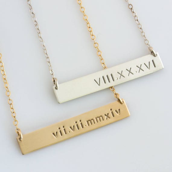 Roman Numeral Necklace Nameplate Necklace Personalized Bar