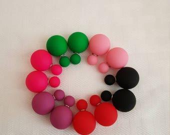 Bold Rubber Exterior Double Stud Earrings - Stud Earrings - Double Stud Earrings - Colorful Earrings - Statement Earrings - Fashion Earrings
