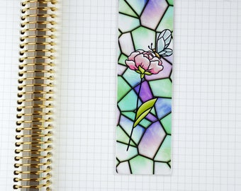 Laminated Pink Stained Glass Rose with Butterfly Bookmark