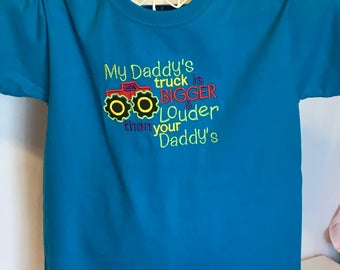 My daddy's truck is bigger t-shirt, size youth medium