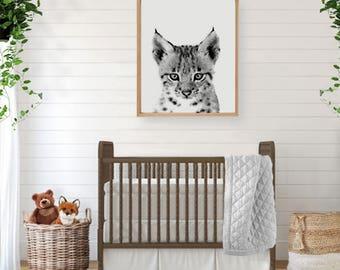 Bobcat Art,  Woodland Creatures, Forest Animal, Large Poster, Woodland Nursery Art, Woodland Wall Art, Woodland Animal, Woodland Baby Shower