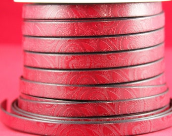 "MADE in EUROPE 24"" flat leather cord, embossed 10mm red leather cord, engraved leather cord (503/10/27)"