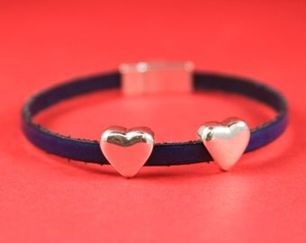 3A/9 MADE in EUROPE 2 zamak heart sliders for 5mm cord, flat cord heart  slider, silver heart slider (95401/05) qty2