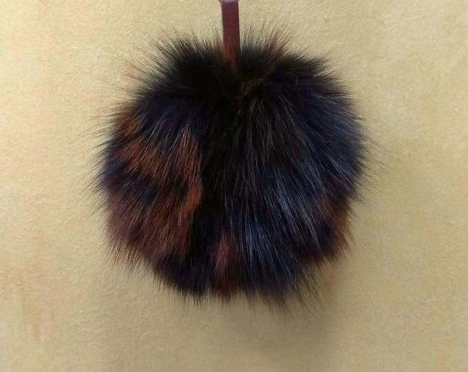 Fox Fur Pom Pom, Bag Pom Pom,Fur keychain F630