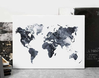 World Map Watercolor Print, World Map Poster Watercolor Grey Black And White, Modern Wall Art, Home Office Decor, Travel Art, Printable Art
