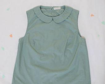cotton blouse sage green with peter pan collar / sleeveless cotton blouse / handmade