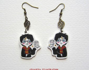 Harry Potter and Hedwig earrings