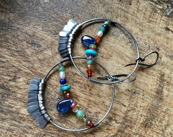 Rustic Jewelry . Bohemian 'Festivity' earrings 161 . mixed gemstones . mixed colors . colorful . gemstones and sterling silver . round ring