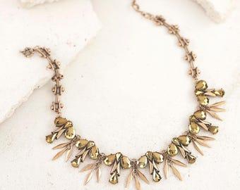 Art Deco Vintage Inspired Spiky Bib Statement Necklace