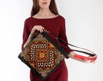 Ukrainian embroidery on black canvas tote / Black  canvas backpack / Black canvas purse / Canvas cross body bag / Ukrainian gift / Ready
