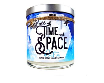 All of Time and Space - Whovian Candle - LemonCakes Candle Co 10oz Wood or Double Wick Soy Candle - Sonic Citrus, Candy, & Vanilla