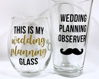 Personalized Wedding Planning Wine Glass, Wedding Planning Observer Glass, Engagement Gift, Engagement Gift Set, Gift for Couple, Quick Gift
