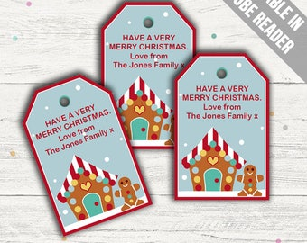 Christmas Party Favor Tags. Gingerbread Party. Christmas Gift Tags. Instant Download.