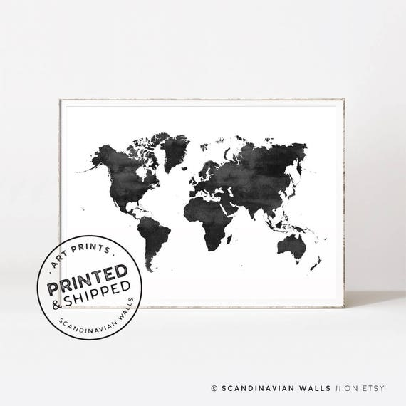 World map world map print world map poster black and white like this item gumiabroncs Choice Image