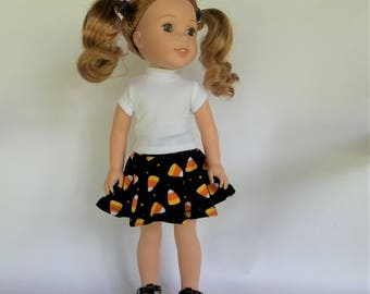 Orange, black and white Halloween candy corn  skater skirt for 14.5 inch dolls like Wellie Wishers,  14 inch doll clothes