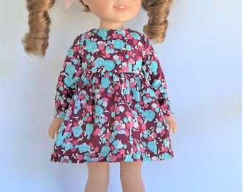 14.5 inch doll clothes fushia and aqua print long sleeve dress for dolls like Wellie Wishers doll clothes