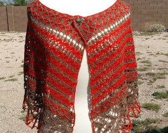 Orange and Light Brown Half-Circle Lace Alpaca Crocheted Shawl