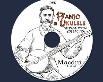 Banjo & Ukulele Vintage e-Books 28 PDF on 1 DVD Kamiki Ukulele, Paramount method, Excelsior method, Eureka method, Crown Banjo Method