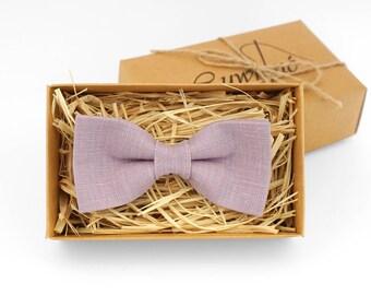 Pale purple bow tie, Bow tie for wedding, pale linen tie, Thistle bow tie, bow tie for men, wedding bow tie, pale purple tie set, mauve tie