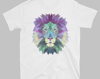 Polygonal Lion T-shirt   Cool tees   Animal T-Shirts