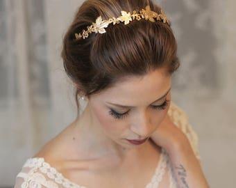 Wedding Headpiece, Bridal Accessory, Bridal Headpiece, Woodland Headband, Gold Headband, Gold Crown, Woodland Wedding, Grecian Leaf Crown