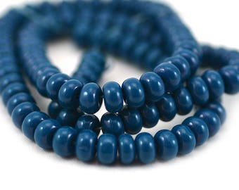 Dark Teal Blue Smooth Rondelle Glass Spacer Filler Beads 6x3.5mm