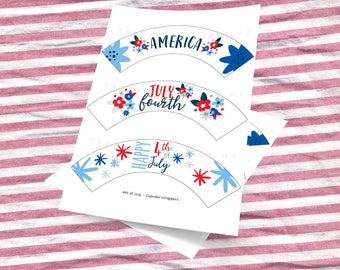"""DIY PRINTABLE 4th of July Cupcake Wrappers 