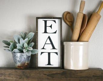 EAT sign, small EAT wooden sign, 12x6, kitchen wall decor, kitchen eat sign, vintage style wooden sign, kitchen wall art, shelf sign,