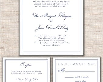 Classic Square Navy Invitation Wedding Invitation Set - PRINTABLE - Digital Files