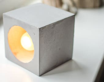 concrete DIMMER lamp Q#157 handmade. concrete lamp. table lamp. concrete light. desk lamp. concrete table lamp. minimalist lamp. concrete