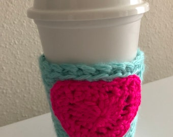 Crochet coffee cozy sleeve