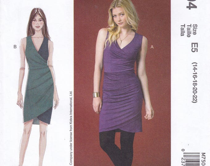 FREE US SHIP McCall's 7504 Sewing Pattern Nicole Miller Wiggle Dress Size 14/22 14 16 18 20 22  Bust 36 38 40 42 44 plus size New