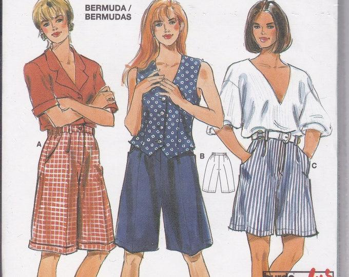 FREE US SHIP Burda Studio 4071 Bermuda Cuffed Pleated Shorts Size 10 12 14 16 18 20 26 28 Uncut Sewing Pattern plus size Waist 32- 46.5