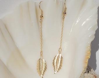 14Kt gold filled leaf drop earrings