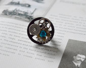 Steampunk large mechanisms Turquoise ring