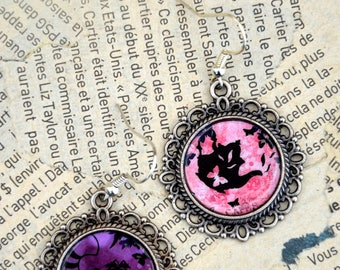 "Earrings ""tea and cat"" Alice in Wonderland"