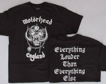 Brand New Free Same Day Shipping Classic Motorhead England Everything Louder Than Everything Else With Back Print Large and XL