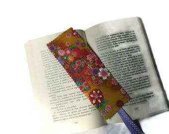 bookmarks, bookmark fabric Japanese flowers, yellow fabric and multicolor purple