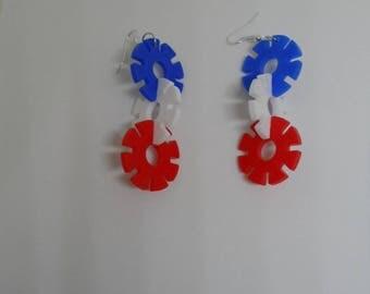Red white blue plastic earrings