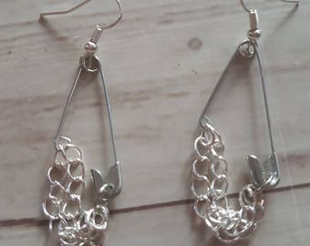 Chains and safety pin earrings