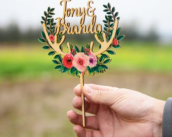 Personalized Cake Topper for Forest Wedding , Custom Wedding Cake Topper with Colorful Floral Wreath & Horns,  Antlers Cake Topper VU012