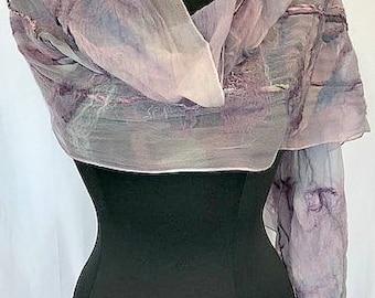 Lavender Felted Wrap, Nuno Scarf, Silk Wrap, Felted Shawl, Wedding Accessories, Long Bridal Wrap, Lavender & Gray Wrap, GracefulEweFiberArts