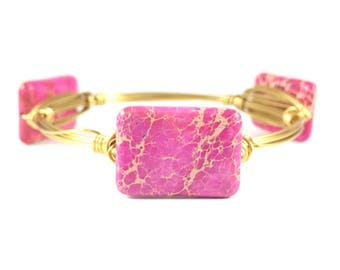 Pink Sea Sediment Jasper Rectangle Wire Wrapped Bangle - Courtney And Courtnie - Gemstone Bracelet - Wire Jewelry - Gift for Her - Stacking