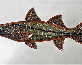 Snook, Fish,  Copper and Stained Glass Garden Sculpture, Stain Glass