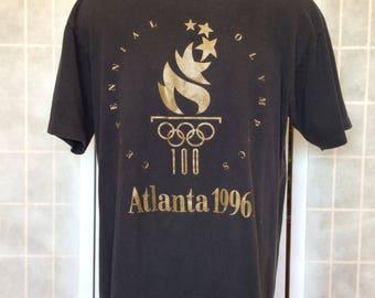 Vintage 1990s// Centennial 1996 Olympics Atlanta T Shirt// Black Gold// By Oneita// Size 42-44// L