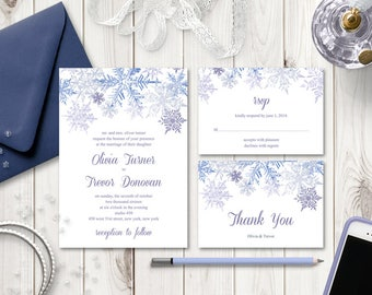 "Winter Wedding Invitation Set ""Snowflakes"", Purple Violet. DIY Printable Templates - Invite, RSVP Card & Thank You Note. Instant Download."