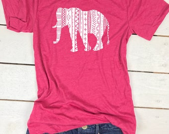 Elephant Shirt - Elephant TShirt - Elephant Tee - Elephant T Shirt - Aztec Elephant Shirt - Womens Elephant Tee - Elephant Top - Boho Shirt