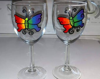 Two Butterfly Rainbow Glasses
