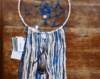 Ocean Dreams Dream Catcher | Made with Ecofriendly Darn Good Yarn | Cruelty Free Feathers | Love & Light | Good Vibes Only | Boho Decor